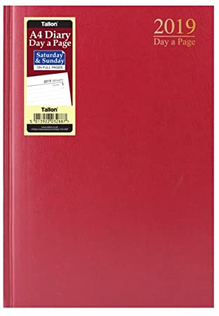 18b8f8c103fd 2019 A4 Page a Day Padded Hardback Diary with Full Page Saturday Sunday -  Red