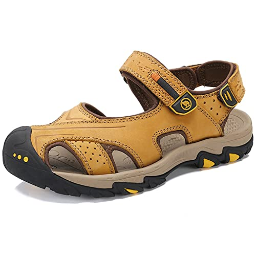 8ba26ac5572b6 CAMEL CROWN Mens Walking Sandals Athletic Slide Summer Leather Fisherman  Beach Casual Shoes Kraft Strap Hiking Closed-Toe  Amazon.co.uk  Shoes   Bags