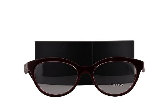 5988f280c411 Prada PR11RV Eyeglasses 52-17-140 Opal Bordeaux On Bordeaux UAN1O1 VPR11R ( FRAME+CASE ONLY)  Amazon.co.uk  Clothing