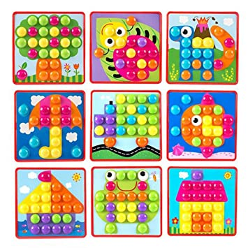Geekper Puzzle Games Button Art Color Matching Mushroom Nails Mosaic Pegboard