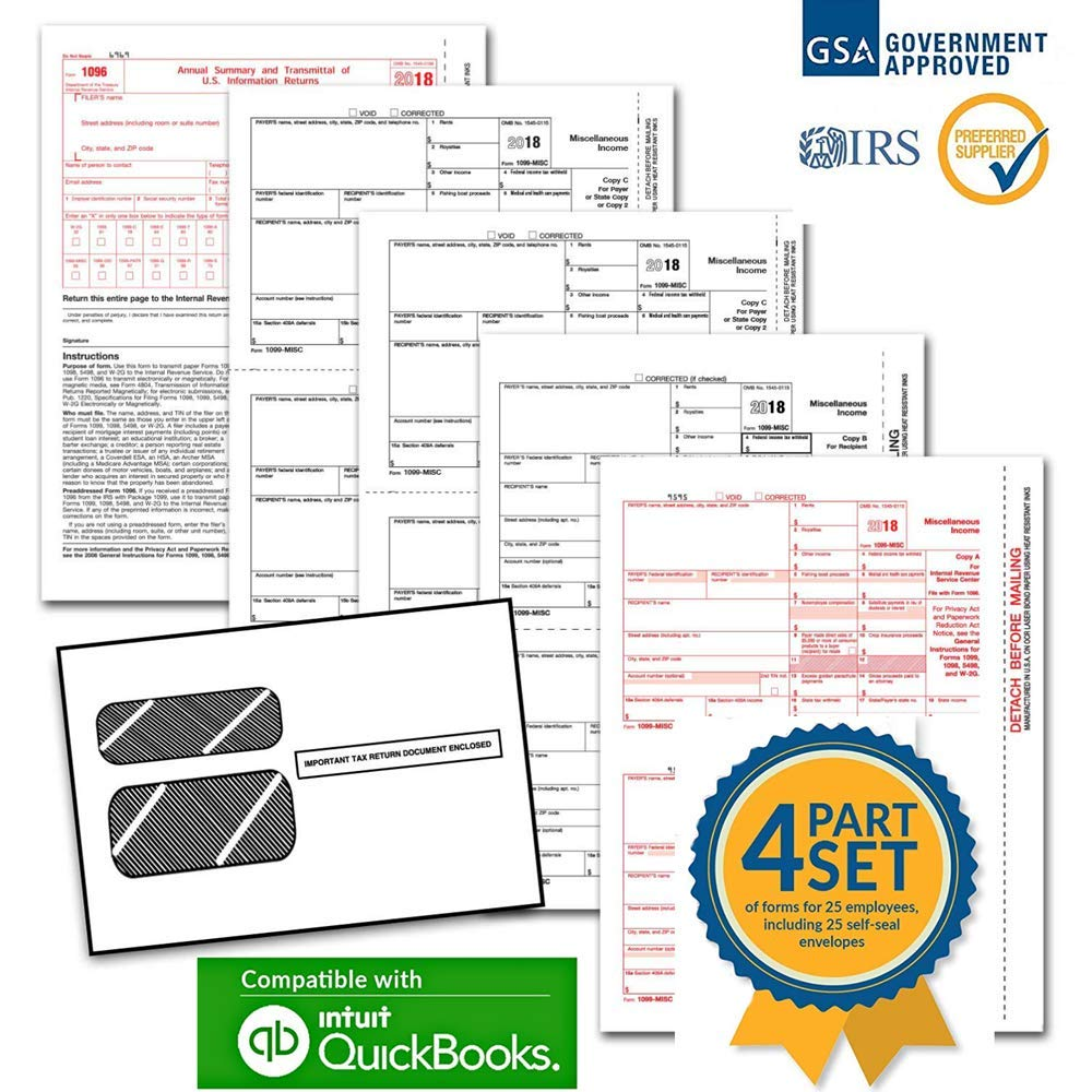 1099 Tax Form Kit - 1099 MISC Laser Forms for 2018 4-Part Forms,  Self Seal Envelopes for 25 Vendors,  3 Form 1096 Forms IRS Approved by Duro Supplies