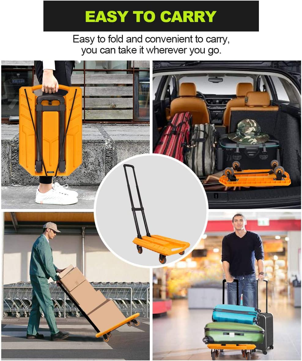 Pansonite Folding Hand Truck with 330 Lb Capacity Shopping Moving Ship Yellow, Large Portable Heavy Duty Aluminum Luggage Laundry Cart and Dolly with 5 Wheels and 2 Free Rope for Luggage