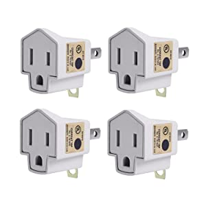 3-2 Prong Adapters Grounding Adapter UL Listed-JACKYLED 3-Prong to 2-Prong Adapter Converter Fireproof Material 200℃ Resistant Heavy Duty Wall Outlets Plugs for Household Appliances Industrial- 4 pack