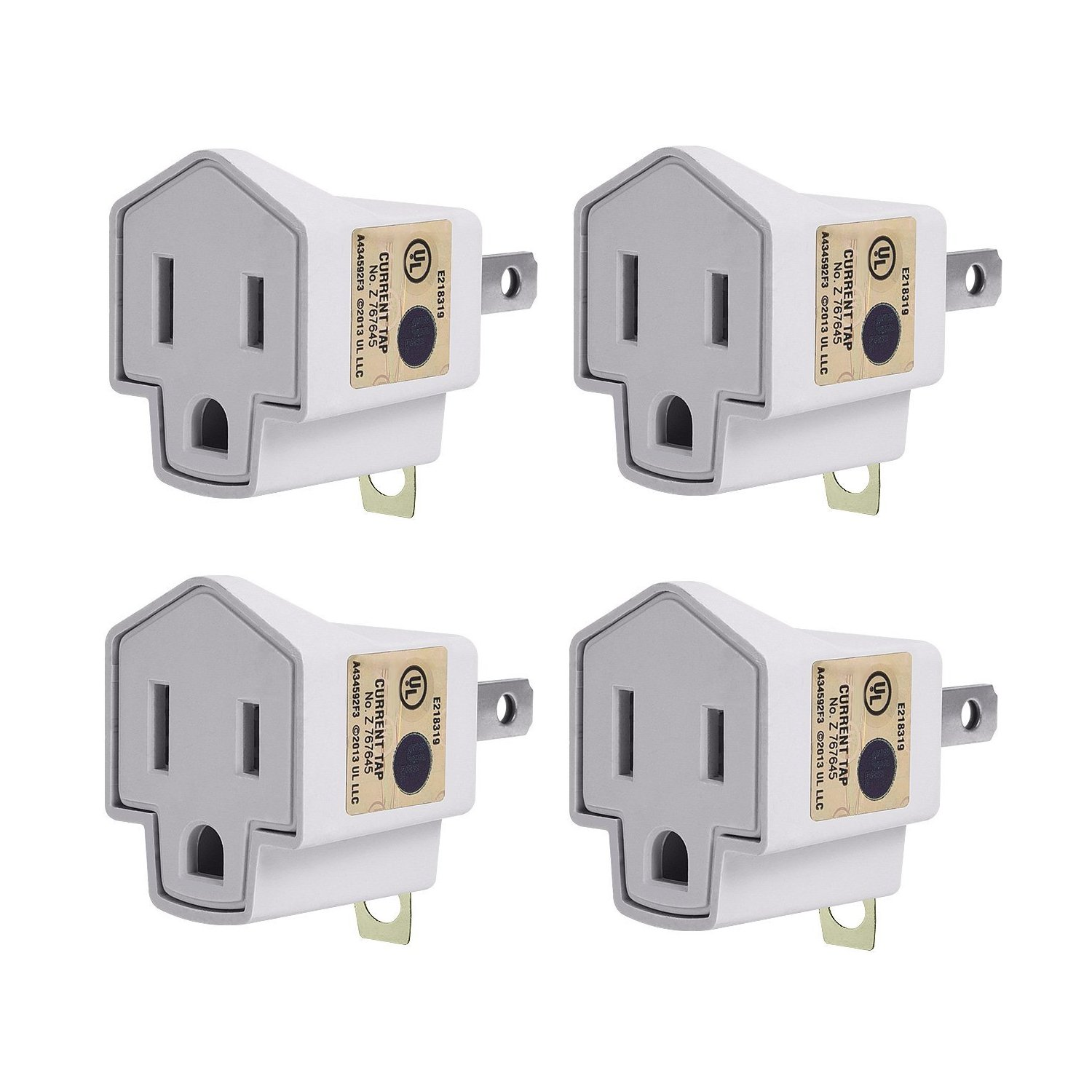 3-2 Prong Adapters Grounding Adapter-JACKYLED UL 3-Prong Adapter Converter Fireproof Material 200℃ Resistant Heavy Duty for Wall Outlets Household Workshops 4-pack