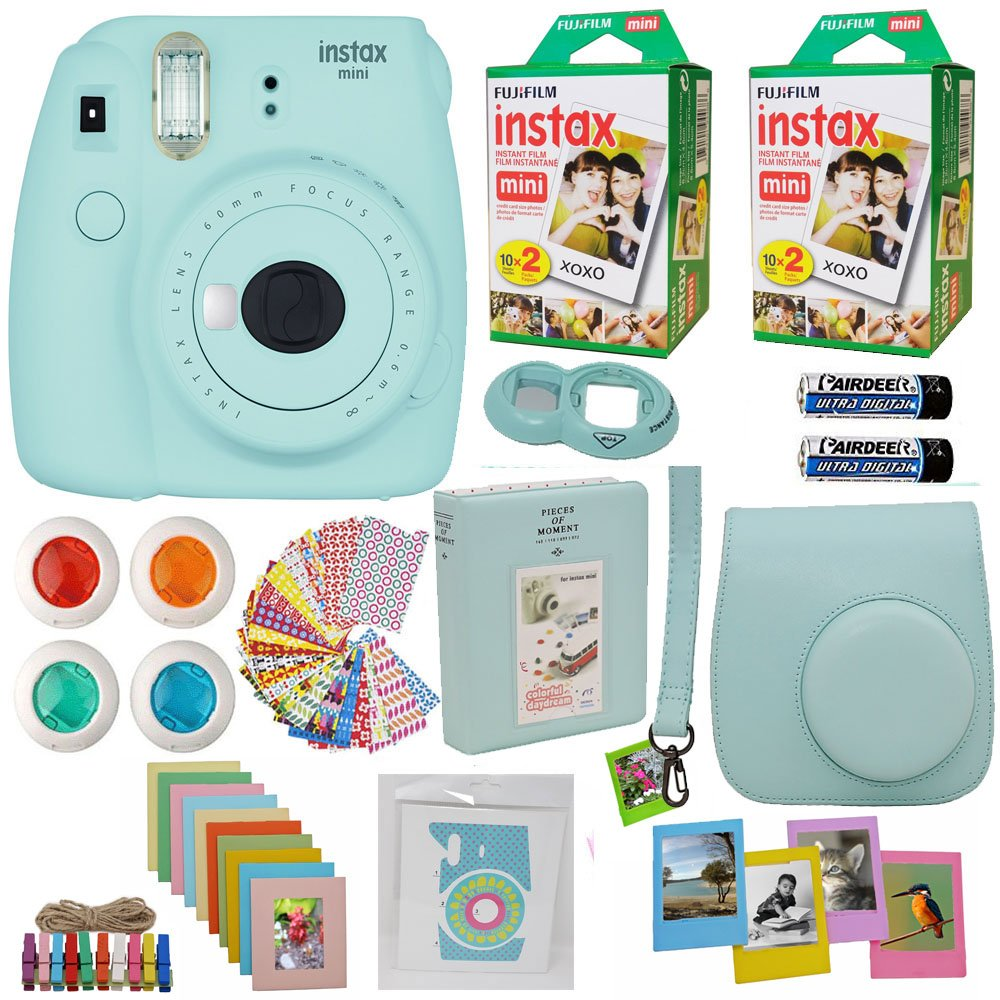 Fujifilm Instax Mini 9 Instant Camera Ice Blue + 2x Fuji Instax Film Twin Pack (40PK) + Blue Camera Case + Frames + Photo Album + 4 Color Filters And More Top Accessories Bundle