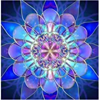 5D DIY Diamond Painting Kit, Crystal Rhinestone Diamond Embroidery Paintings Pictures Arts Craft for Home Wall Decor - Blue Flower 12x12inch