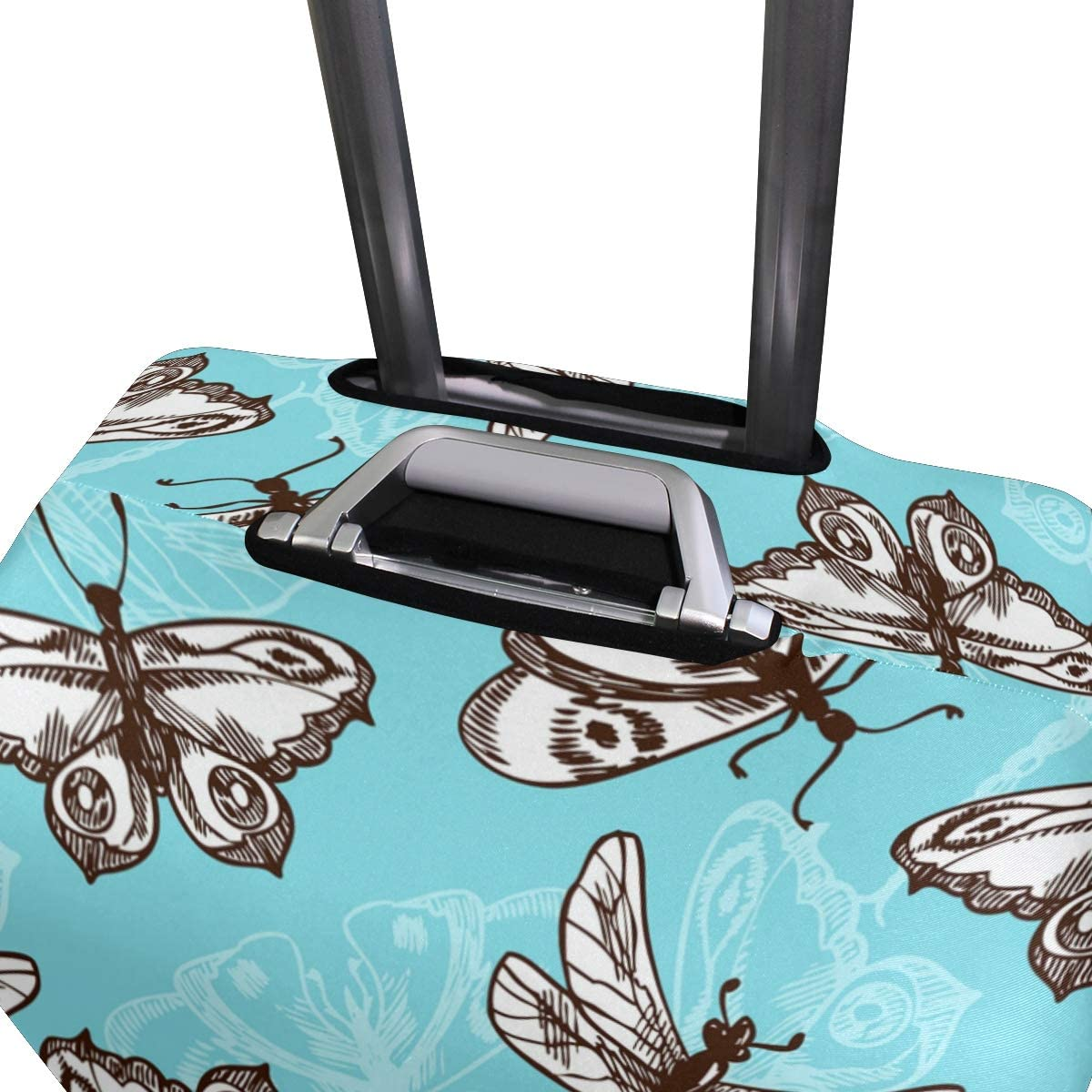 Travel Luggage Cover Butterflies Dragonflies Pattern Blue Suitcase Protector