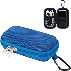 AGPTEK MP3 Player Case, Portable Clamshell Headphones Cover, Holder with Metal Carabiner Clip for 1.8 inch MP3 Players, iPod Nano, iPod Shuffle, Apple Airport, Blue