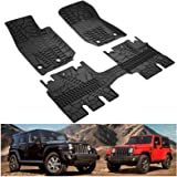 Kiwi Master Floor Mats Compatible for 2014-2018 Jeep Wrangler JK 4-Door Unlimited, TPE All Weather Front and Rear OEM Slush F