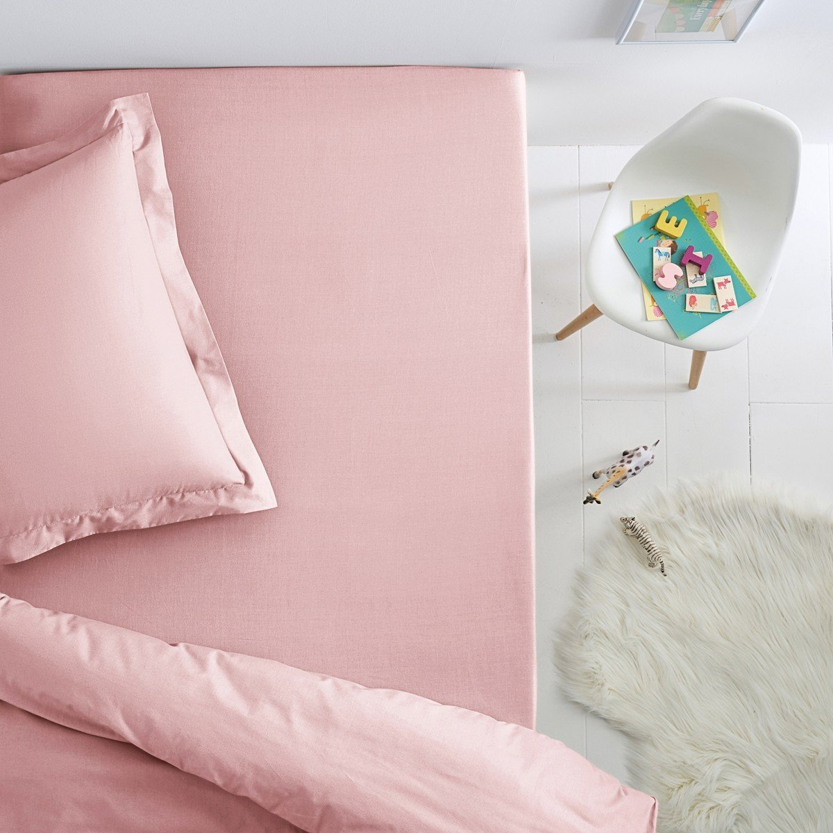 La Redoute Cotton Jersey Fitted Sheet For Child's Bed Pink Size Single (90 X 190Cm)