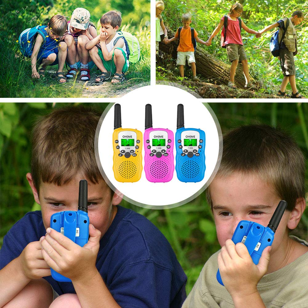 Ohime Kids Walkie Talkies,Cover 3 Miles Range with Backlit LCD Flashlight 22 Channels 2 Way Radio Toy Outdoor Adventures, Camping, Hiking,Party (YellowΠnk&Blue) by Ohime (Image #6)