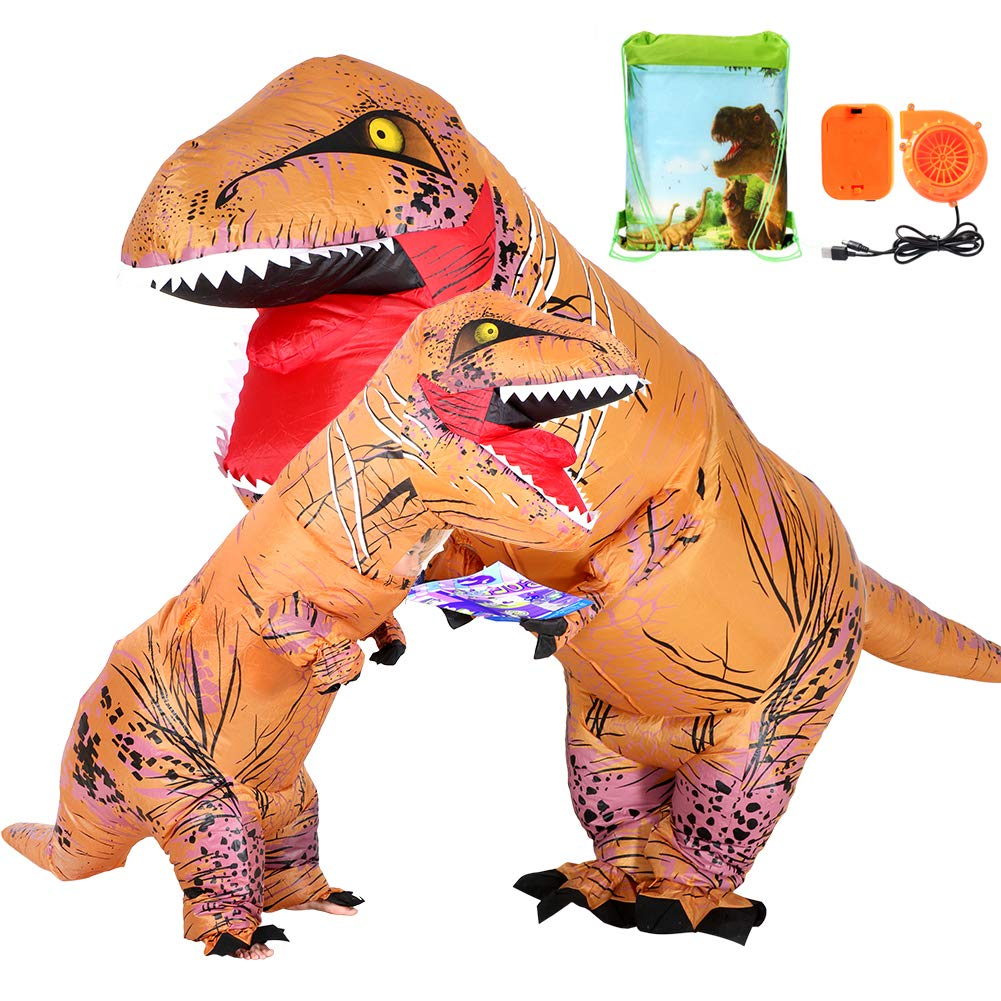 2 Pcs Adults Kids T Rex Costume Dinosaur Inflatable Costume with Drawstring Bag for Halloween