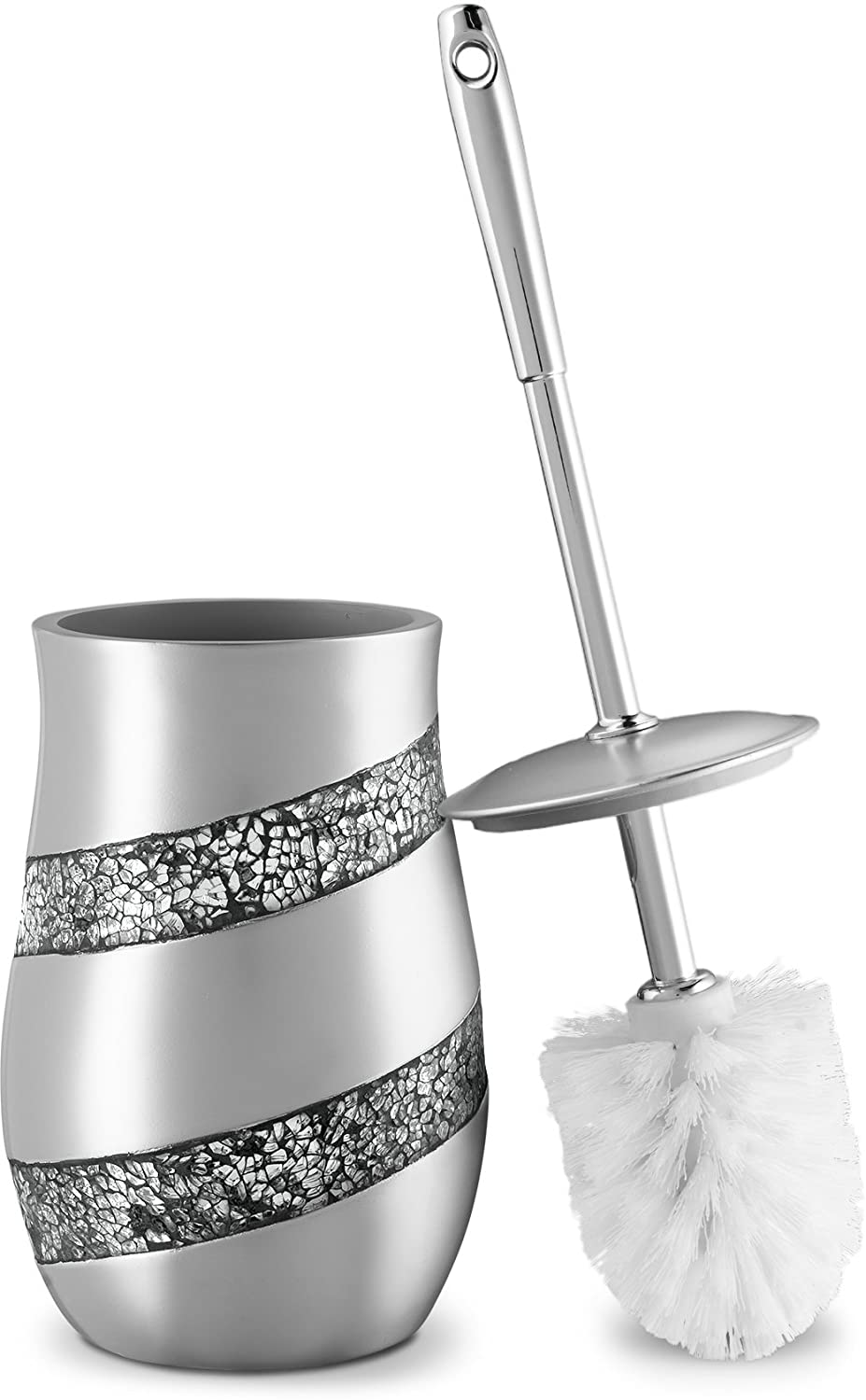 "Dwellza Silver Mosaic Toilet Bowl Brush with Holder (4.5"" x 4.5"" x 7.7)"" - Rust Resistant Resin- Decorative bowl Scrubber- Space Saving Design- Contemporary Scrubbing Cleaner (Silver Gray) SMP-44374"