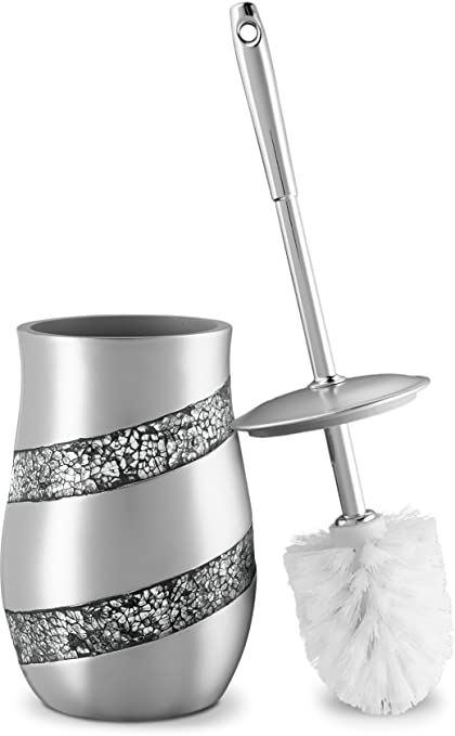 Toilet Bowl Cleaner Brush And Holder Set  Silver Mosaic Collection   Decorative Toilet Scrubber