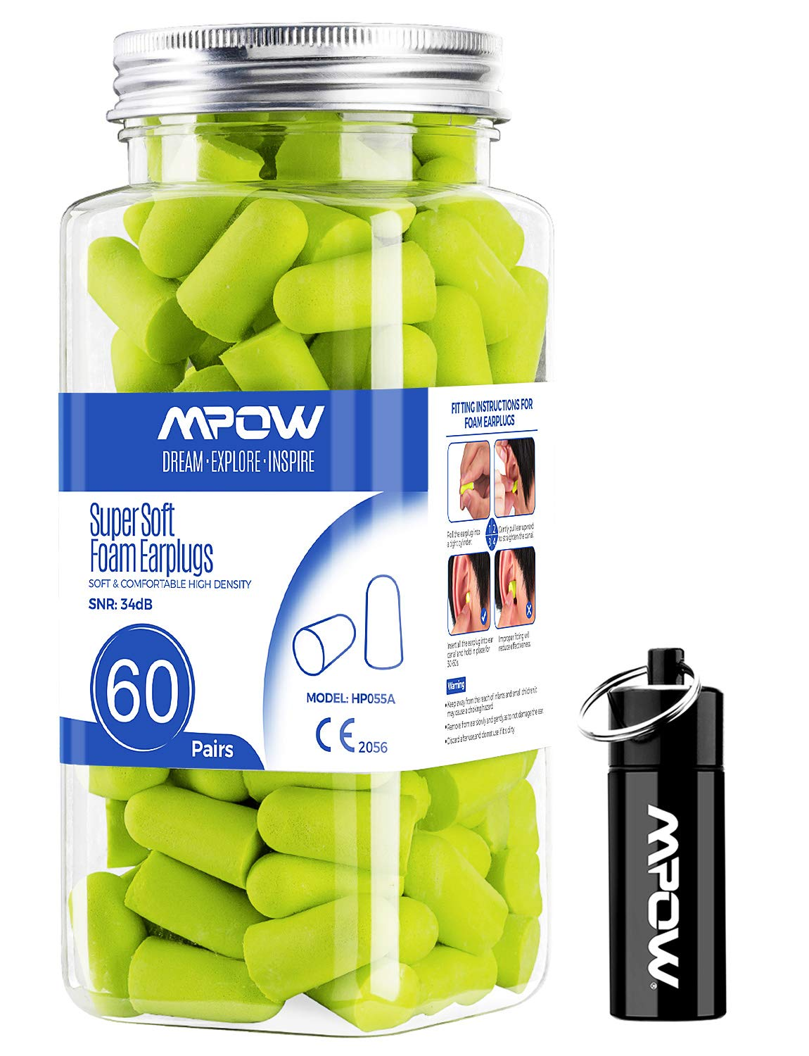 Mpow 055A Ear Plugs 60 Pairs, Super Soft Foam Ear Plugs 34dB SNR, Noise Reduction Hearing Protector, with Aluminum Carry Case, for Sleeping, Woodworking, Shooting, Travel, Loud Events-Green by Mpow