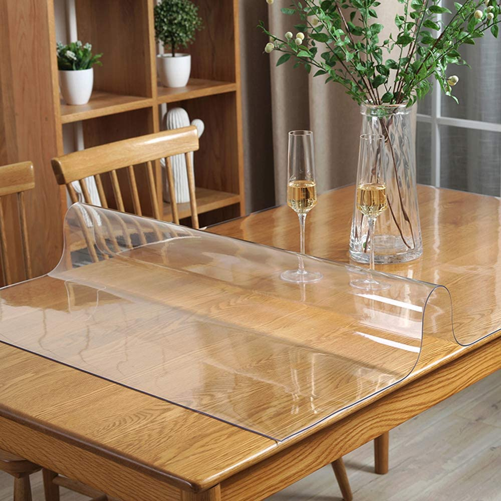 32x60 in Dining Room Table Protector Clear PVC Table Cloths for Coffee Play Game Sofa Garden Tabletop Craft Table Runner Scratchproof Water Resistant Easy Clean Wipeable Office Desk Top Protection