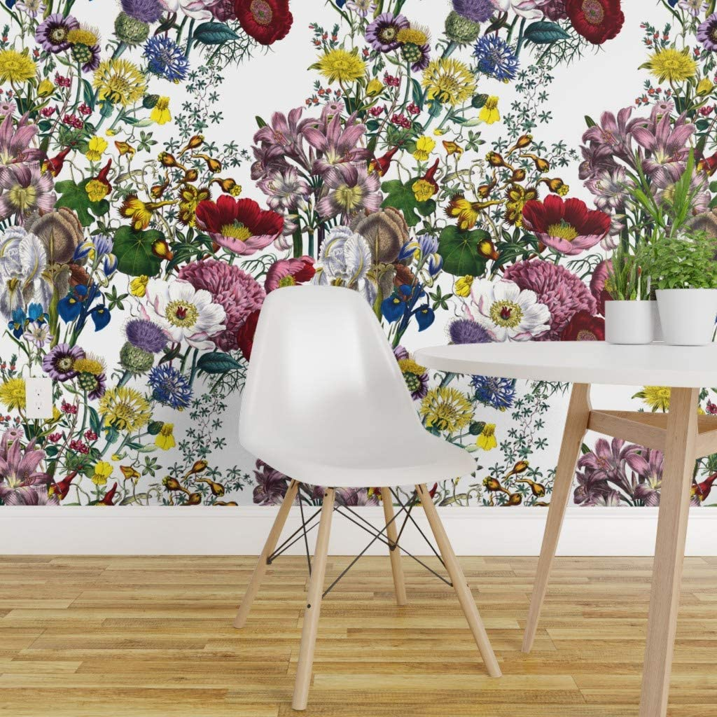 Spoonflower Pre Pasted Removable Wallpaper Flowers Floral