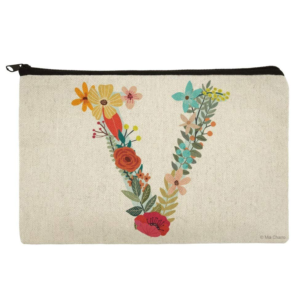 Letter V Floral Monogram Initial Makeup Cosmetic Bag Organizer Pouch