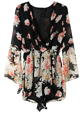 bd10bca0ef9 Amazon.com  PERSUN Women Limited Black Floral Print Romper Playsuit with Long  Flare Sleeves  Clothing
