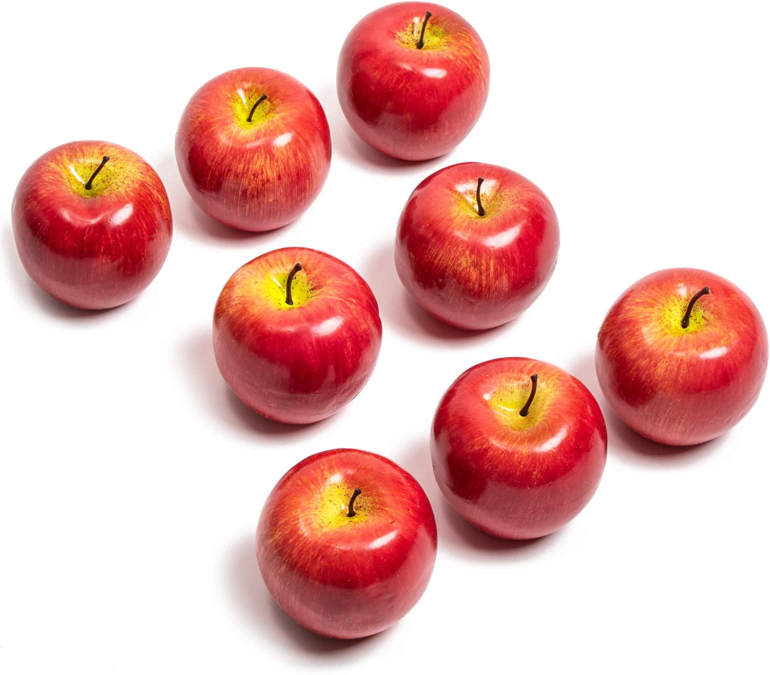 Juvale Red Artificial Apples, Faux Fruit Decor (2.5 in, 8 Pack)