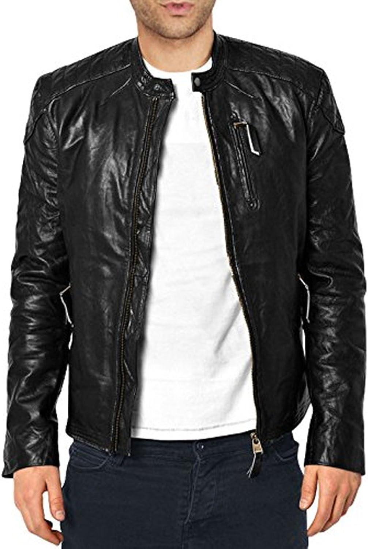 Men Leather Jacket Slim Fit Biker Motorcycle Genuine Lambskin Jacket T753