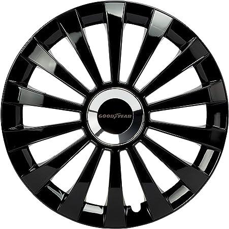 Good Year GOD9032 1 juego de 4 tapacubos color negro tecnología flexo y anillo de sujeción ajustable GOODYEAR, 14 pulgadas, Set de 4