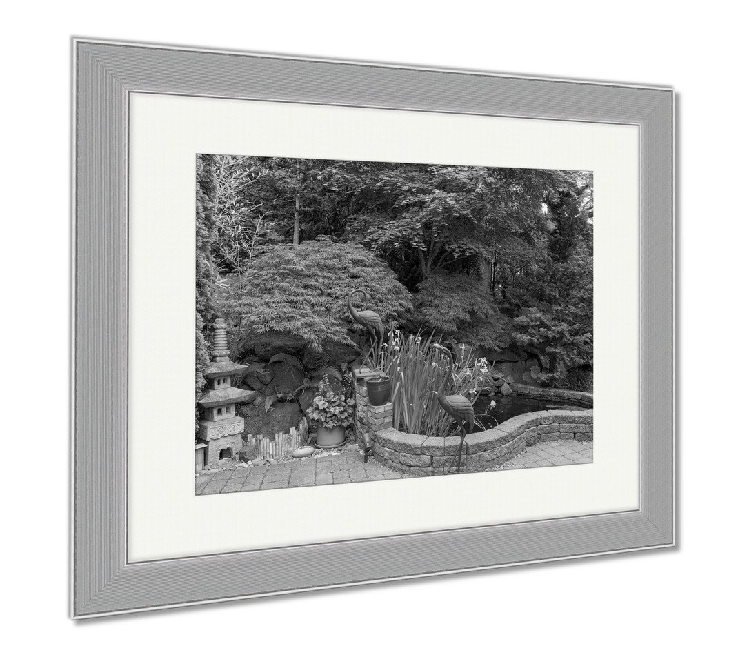 Ashley Framed Prints Home Garden Backyard With Lush Plants Japanese Landscaping Pond Stone Pagoda, Contemporary Decoration, Black/White, 26x30 (frame size), Silver Frame, AG6503752