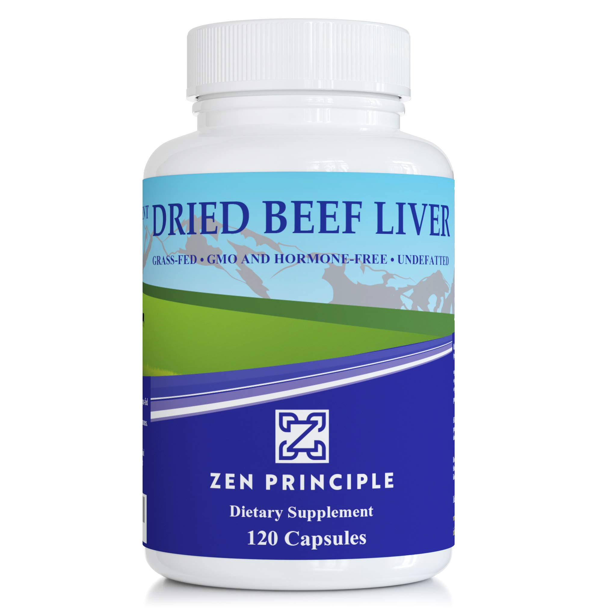 Ultra-Pure Desiccated Beef Liver, Grass-Fed, Pasture-Raised Cows. No Hormones or GMO. Natural Energy and Workout Boost from Iron, Amino Acids, Protein and Vitamins. 120 Capsules 750 Mg. by Zen Principle