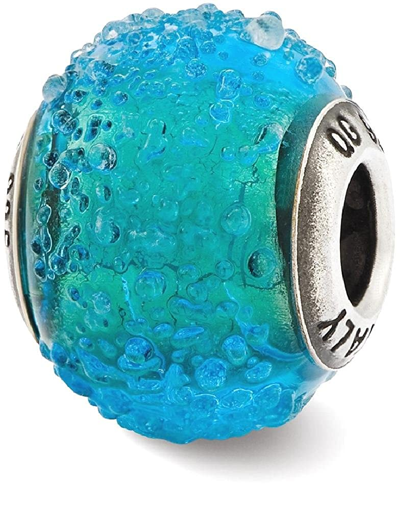 925 Sterling Silver Charm For Bracelet Italian Blue Green Textured Glass Bead Glas Murano Fine Jewelry Gifts For Women For Her