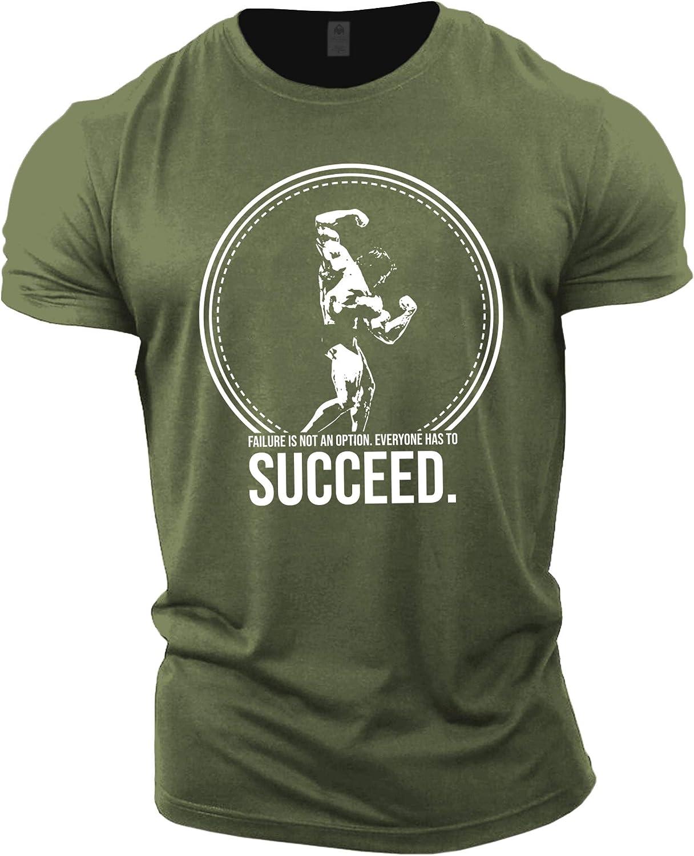 Top per Allenamento in Palestra Arnold Schwarzenegger Succeed GYMTIER Magliette da Uomo per Bodybuilding