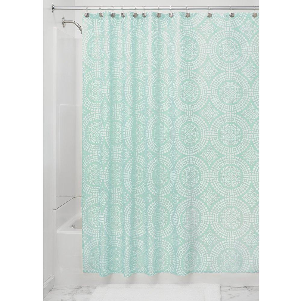 InterDesign Medallion Fabric Shower Curtain 72 X White Mint