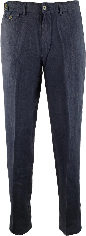 Polo Ralph Lauren Mens Straight-Fit Flat-Front Linen Pants
