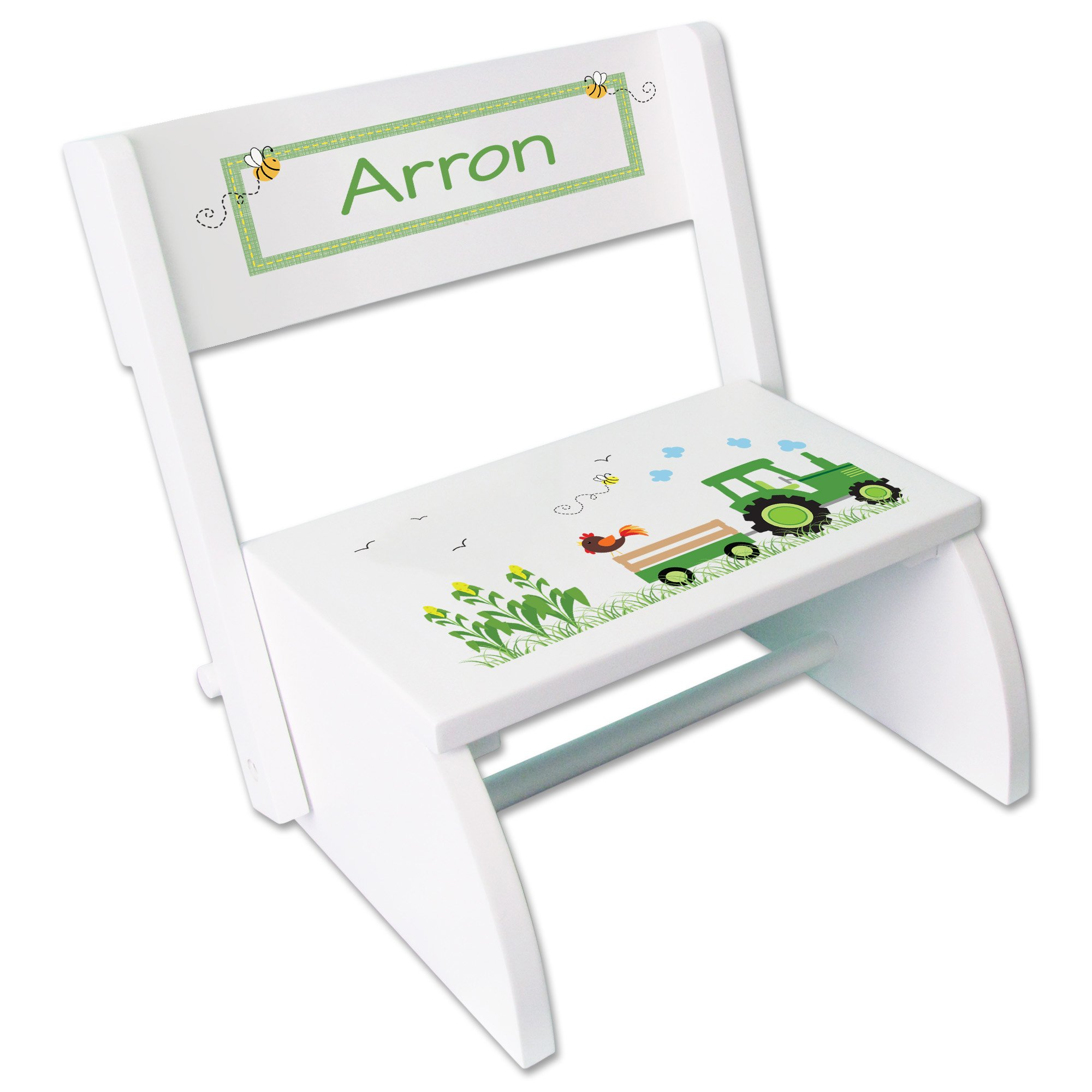 Personalized Green Tractor Childrens and Toddlers White folding stool