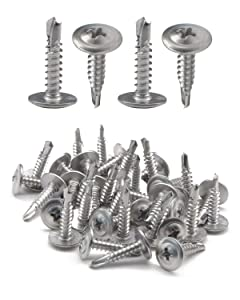 "IMScrews 200pcs #8 x 3/4"" Self Drilling Truss Head Screws Standard Thread Wood Work MDF 401 Stainless Steel"