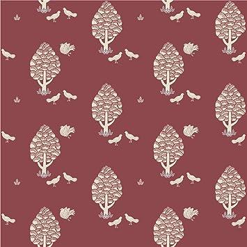 klassische gmm tapete rot braun central park mit tauben und bumen angepasst an farrow - Tapete Rot Muster