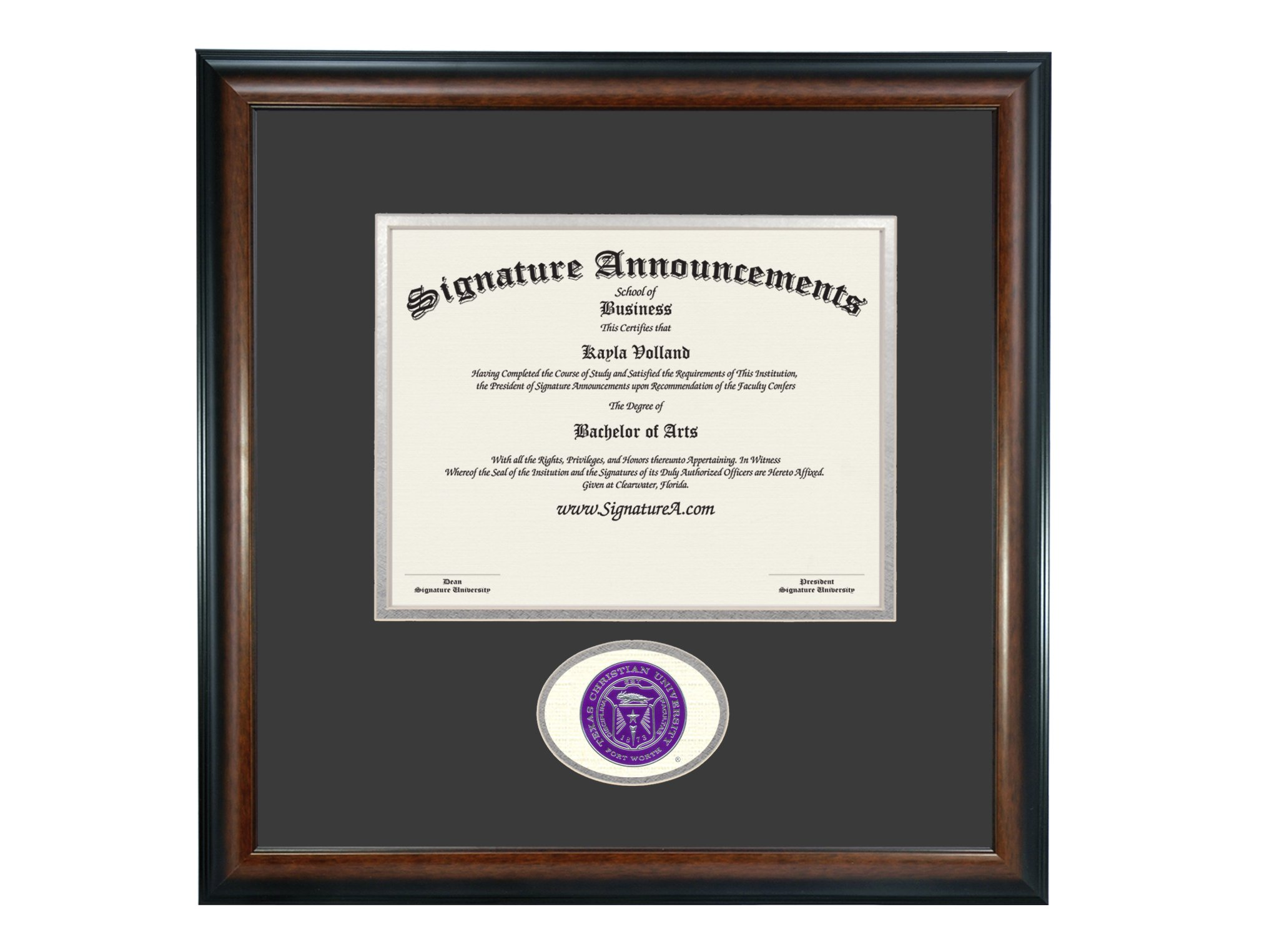Signature Announcements Texas Christian University (TCU) Undergraduate and Graduate/Professional/Doctor Graduation Diploma Frame with Sculpted Foil Seal (Matte Mahogany, 16 x 16) by Signature Announcements
