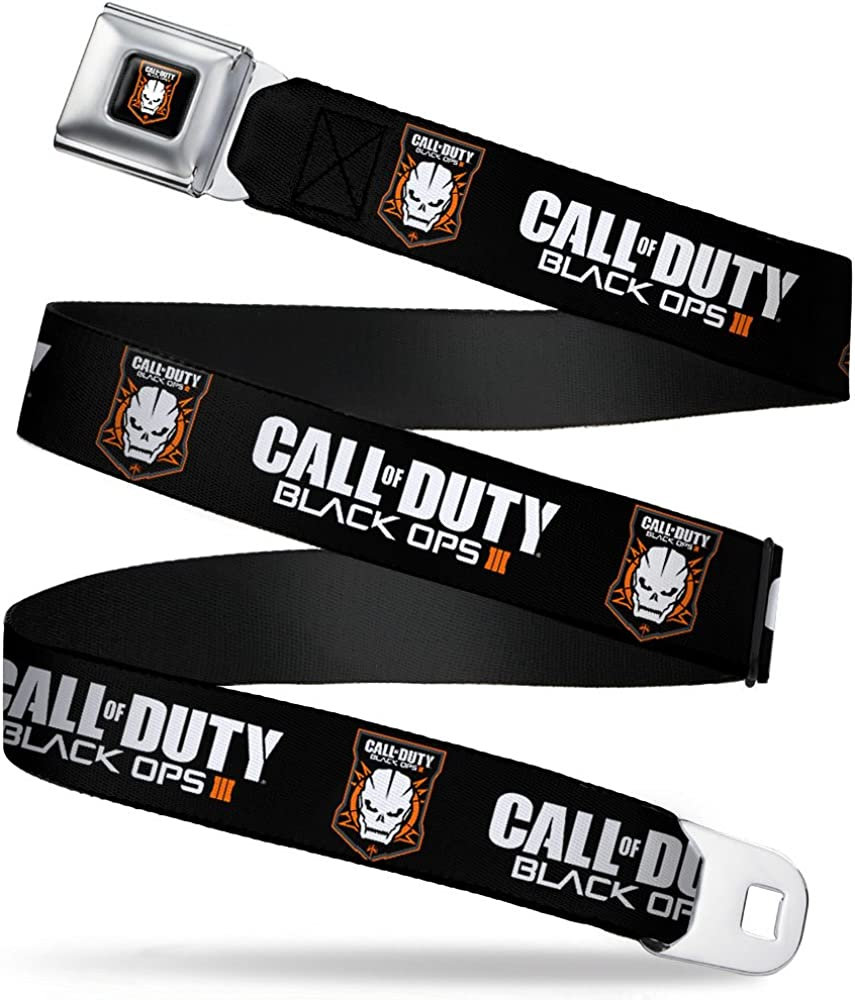 1.0 Wide 20-36 Inches in Length Buckle-Down Seatbelt Belt CALL OF DUTY-BLACK OPS III//Skull Icon Black//White//Orange