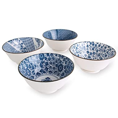 YALONG 20-Ounce Deep Bowls for Cereal Soup Salad,Assorted Blue White Patterns Set of 4,6 inches Diameter by 2.8 inches High Ceramic Serving Soup Rice Noodle Pasta Bowl Set Father's Day