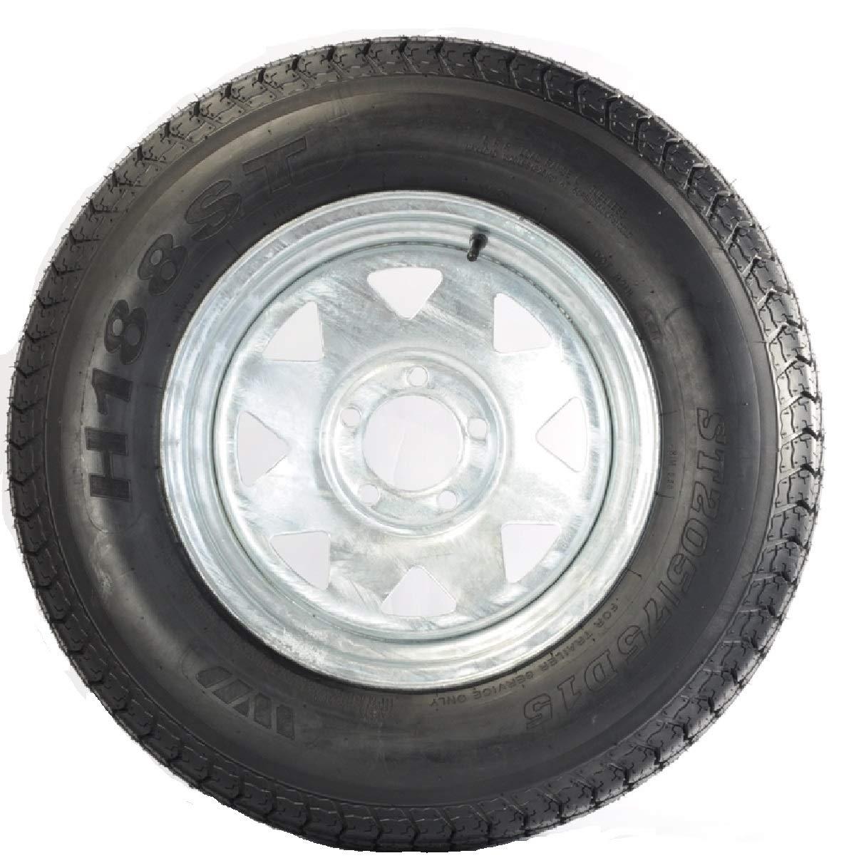 LRC 5 Hole Galvanized Spoke eCustomRim Trailer Tire On Rim ST205//75D15 205//75 D 15 in