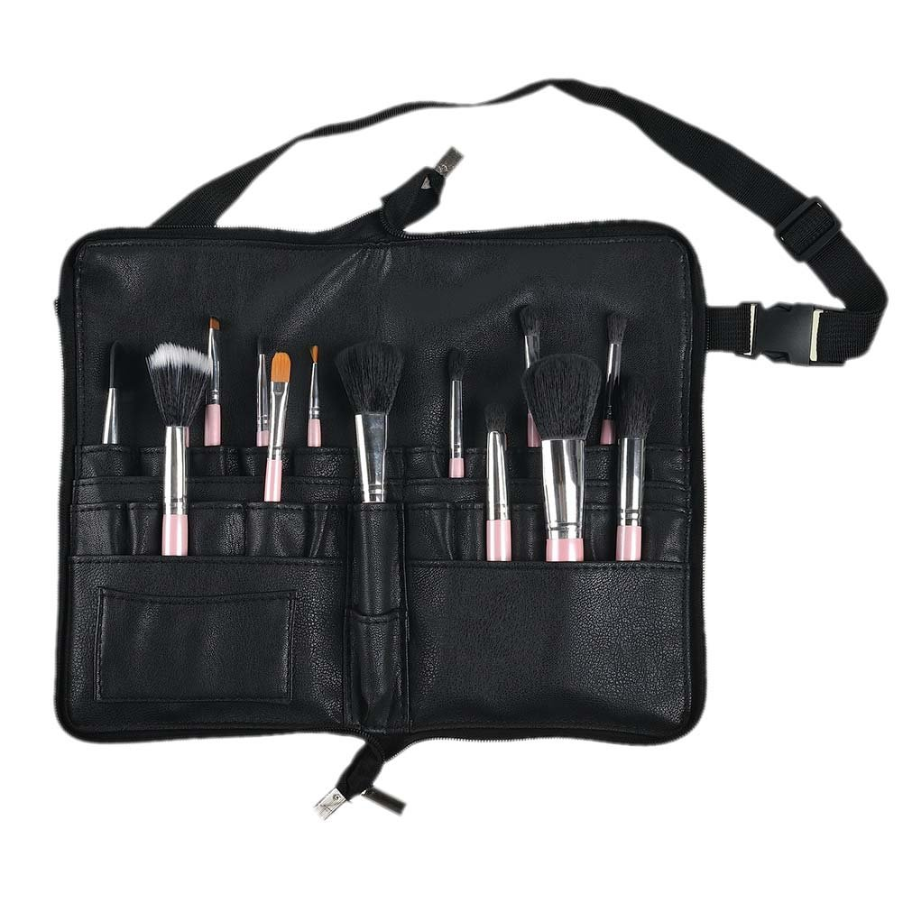 Adealink Multi Pockets Makeup Brush Waist Bag Belt Strap Holder Cosmetic PU Leather Organizer Case