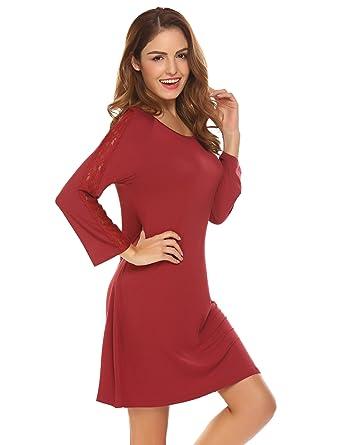d1f4fd52fc1954 Meaneor_Fashion_Origin Damen Nachthemd Kurze Pyjama Nachtwäsche Rundhals  Negligee mit Spitze Nachtkleid Sexy Shirtkleid mit 3/