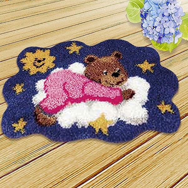 DIY Latch Hook Crocheting Rug Kit Ladybird Flowers Needlework Embroidery Carpet