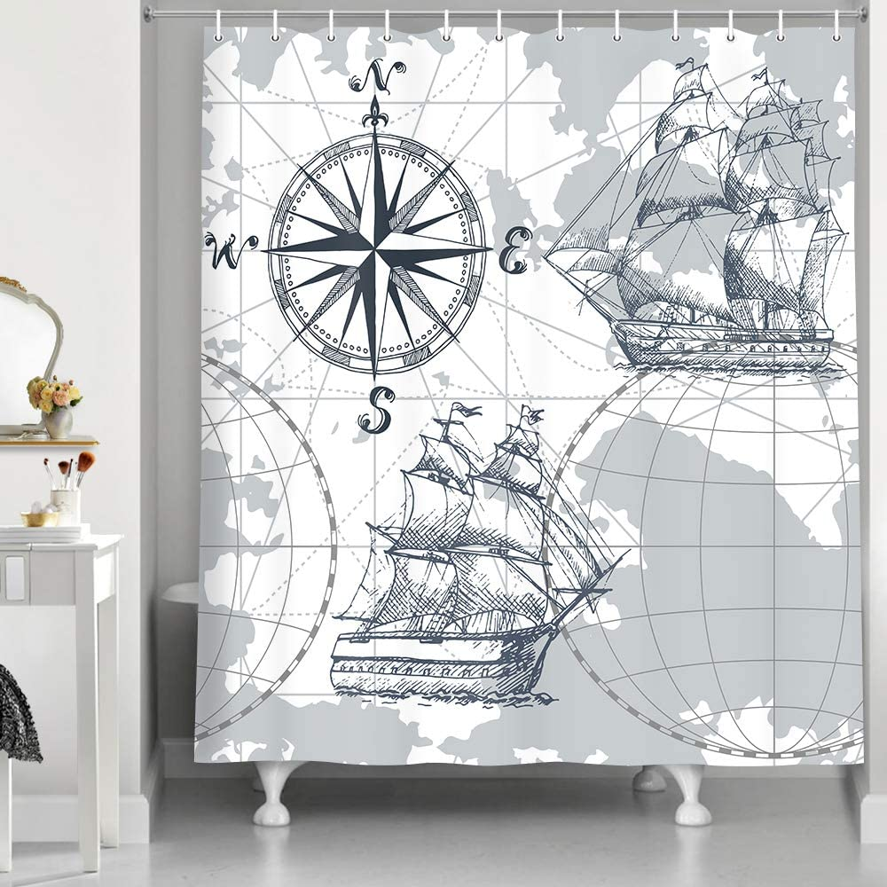 Nautical Sailboat Map Shower Curtain