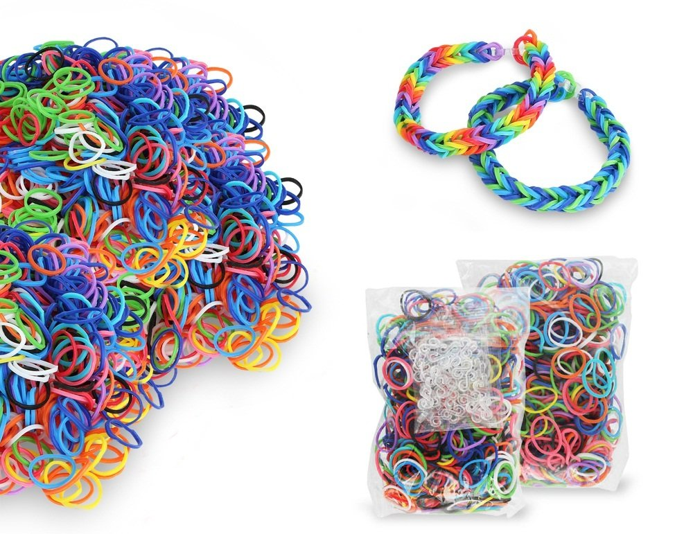 Chromo Inc Starburst Loom Band 2400 Pack. 2,400 Xtra Strength Latex Free Loom Bands and 100+ S-Clips
