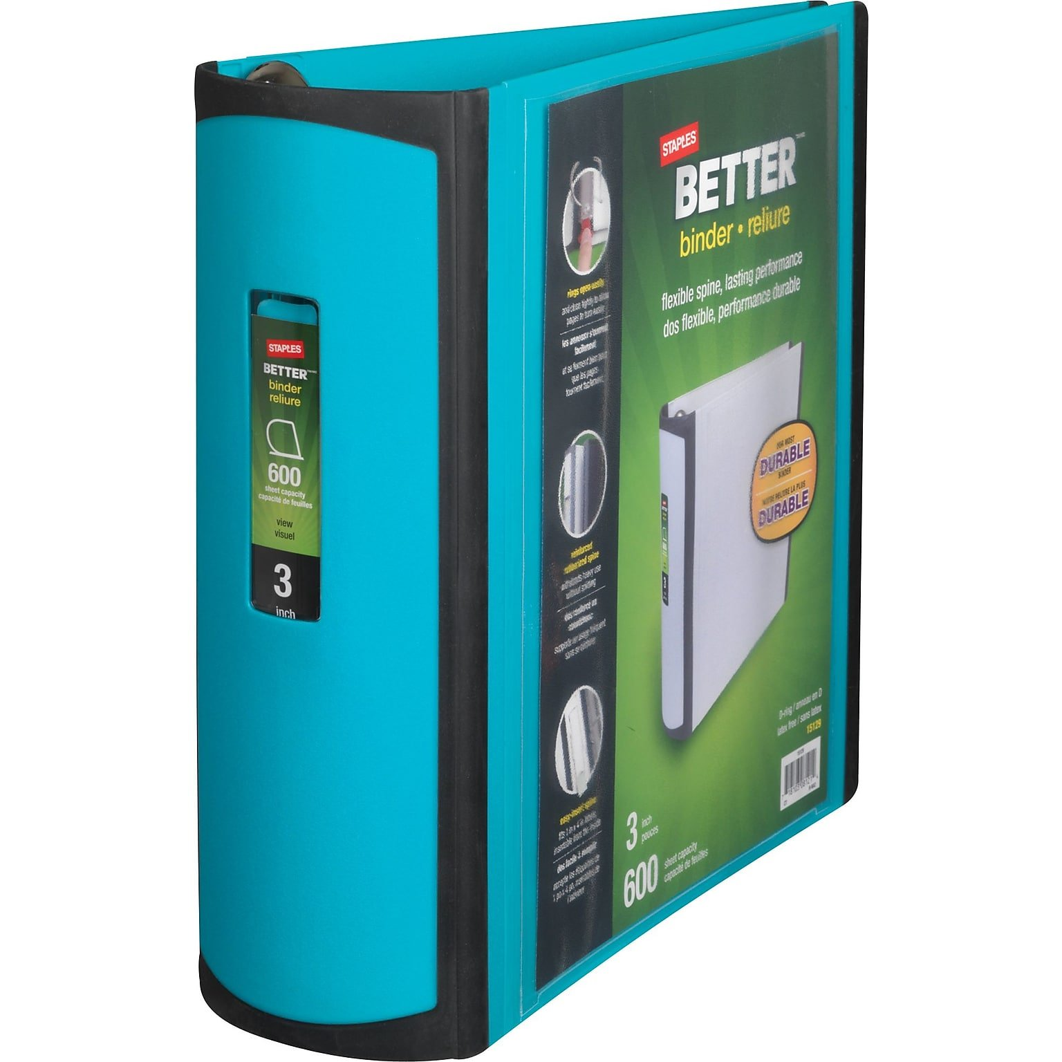 Staples 3 Inch BetterView Binder with D-Rings (Teal)