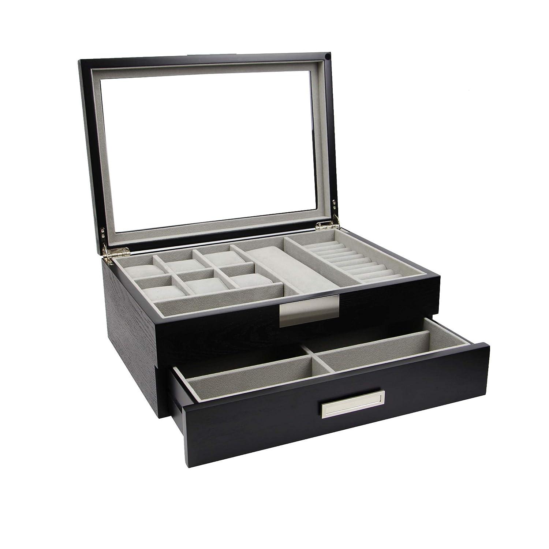 DecoreBay Executive Unisex Black Wood Valet sunglasses and Jewelry Box Storage (Super Star)