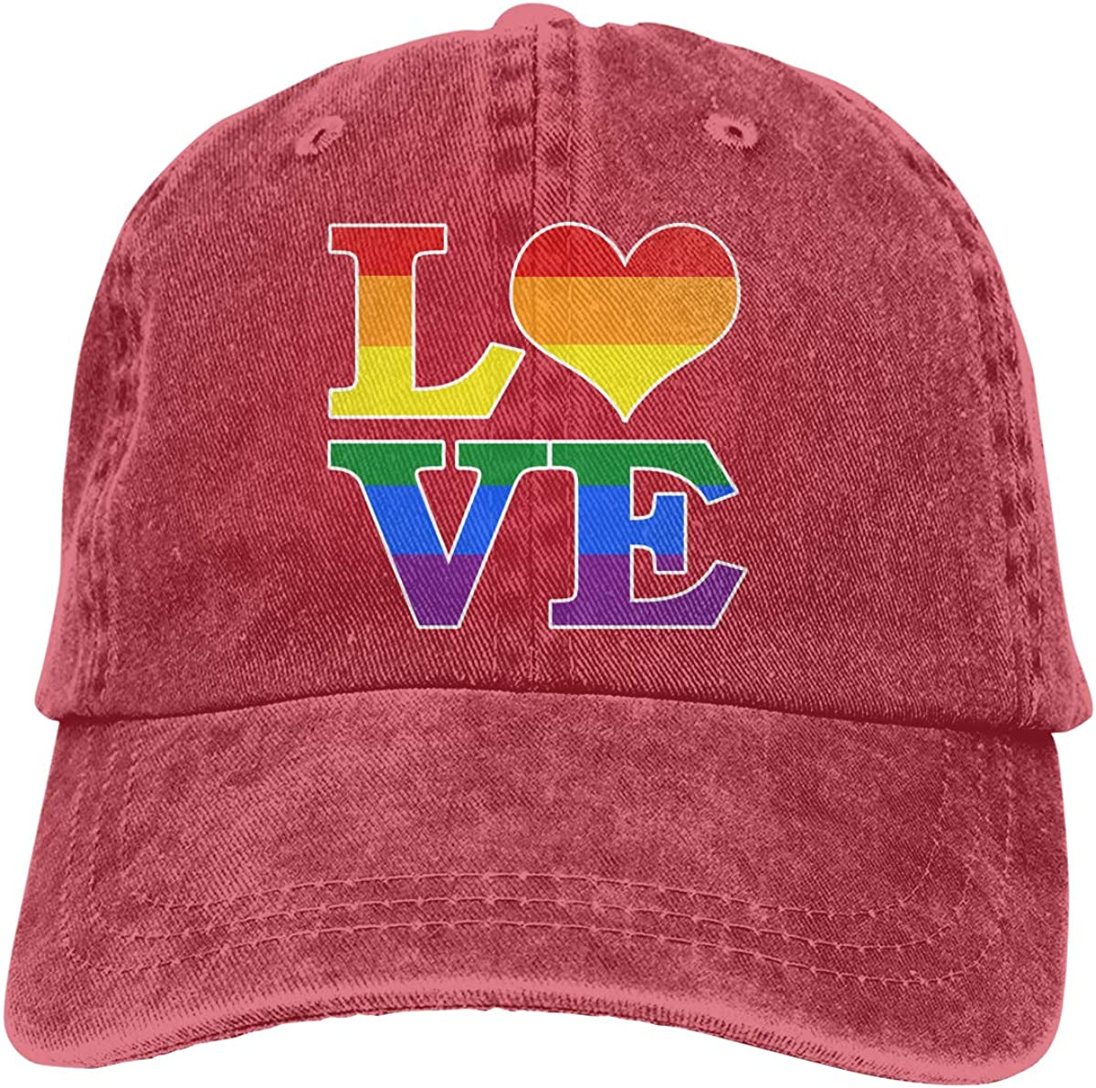 Gay Love Rainbow Heart Gay/&Lesbian Pride Unisex Custom Jeans Casquette Adjustable Baseball Cap