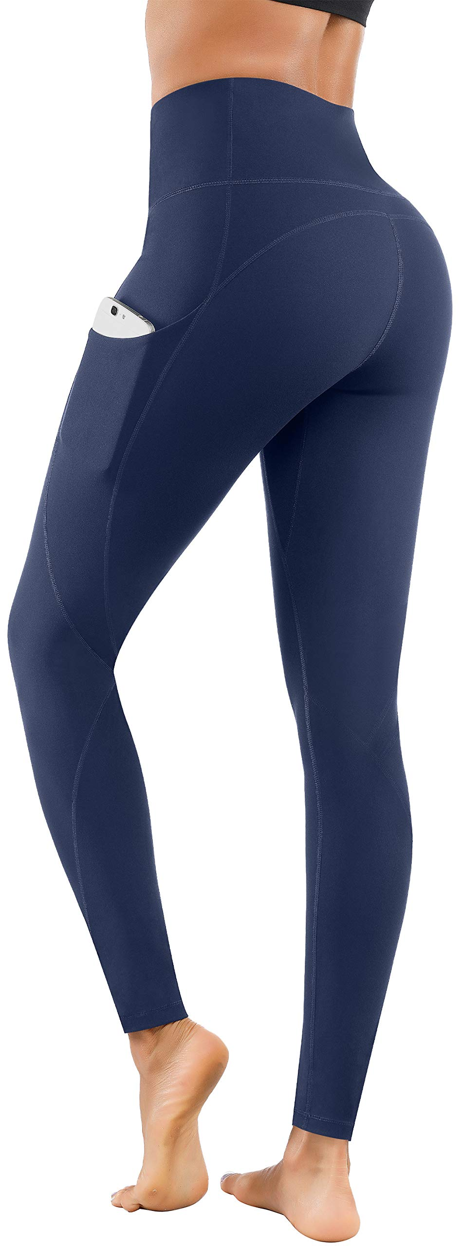 Lingswallow High Waist Yoga Pants - Yoga Pants with Pockets Tummy Control, 4 Ways Stretch Workout Running Yoga Leggings (Navy, X-Large) by Lingswallow