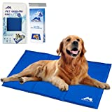 Whalek Cooling Mat Pressure Activated Chilly Dog Cat Bed Gel Mat Blue with Pet Pooper Comb,Perfect for Floors, Couches, Car Seats, Pet Beds & Kennels