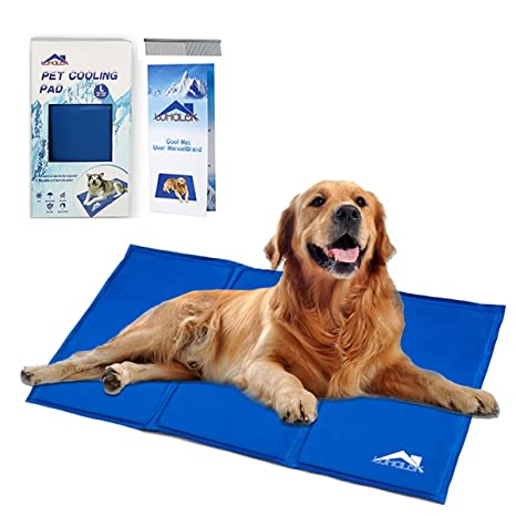 Whalek Cooling Mat Pressure Activated Chilly Dog Cat Bed Gel Mat Blue With Pet Pooper Comb Perfect For Floors Couches Car Seats Pet Beds Kennels